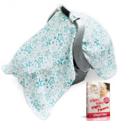 uElegant Baby Car Seat Cover - Fits All Car Seats - Soft, Breathable, Premium 100% Cotton Muslin - Essential Parents Guide Book Included - Cute Design - Perfect For Baby Boy or Girl
