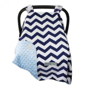 #1 NEW RELEASE - Largest Carseat Canopy Cover, by CRAZZIE (Large, Cool Weather Zigzag Navy/blue) 100% GUARANTEED