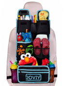 Joviy Backseat Organiser with Multiple Compartments for Easy Organising Baby and Toddler Items for Car Travels and Road Trips - No Mess, No Lost Items, No Problem! Lifetime Guarantee