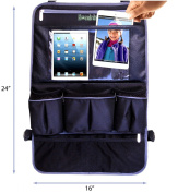 #1 Premium Backseat Car Organiser with Huge 43cm Leather Tablet/Laptop Holder ★ Large Multifunctional Waterproof Back Seat Protector for Kid/Baby ★ 10 Year Warranty!