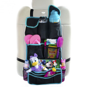 Backseat Organiser For Kids By Lion Heart Premium Quality Black Durable Waterproof Material, Luxury Car Seat Protector Works as Kick Mat For Children, Makes Baby Travelling Comfortable, Safe, Has Detachable Pocket, Organise Pet Gear, Books, Keep Ipad,  ..