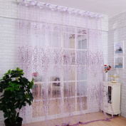 Voberry®floral Sheer Tulle Voile Door Curtain Window Drape Panel Scarf Valance(1 Pcs)