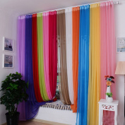 Voberry(tm)1 Pc Solid Colour 200x100cm Ready Made Sheer Curtain Living Room Window Curtain Red
