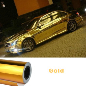 NuoYa001 Bubbles Free 30cm x 150cm Car Mirror Chrome Gold Metallic Sticker Film Sheet Wrap