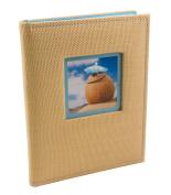 BorderTrends Beach 80-Pocket Rattan Cover Photo Album, Blue