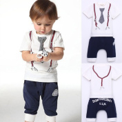 Cute Kids Boy Cotton Tie Belt Print Top T Shirt + Pants Baby Suit Outfits 4 Years