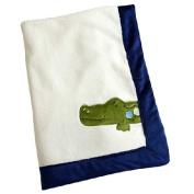 Alligator Blues Appliqued Coral Fleece Blanket