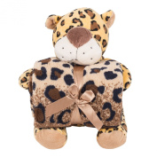 Snoozies Plush Animal with Matching Throw Blanket - Leopard