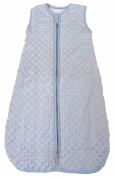"""Baby sleeping bag """"Minky Dot"""" blue, quilted and double layered, 2.5 Togs (Large"""