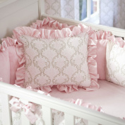 Carousel Designs Pink and Taupe Damask Decorative Pillow Rectangular