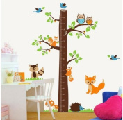 1 X Epie Store(TM) Owl tree jungle animals growth chart nursery wall sticker decor 190cm Height removable jungle tree nursery wall decor sticker art decal baby kids bedroom mural