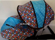 Infant Carseat Canopy Cover 3 Pc Whole Caboodle Baby Car Seat Cover Kit Cotton Football C060800