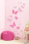 Funtosee Vintage Butterfly Wall Decals, Pink