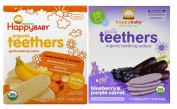 Happy Baby Organic Teethers Gentle Teething Wafers 2 Flavour Sampler Bundle