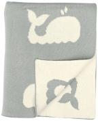 DARZZI Whale Baby Blanket, Grey/Natural, 90cm x 110cm