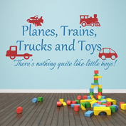 Nursery Wall Decal Playroom Quote Planes Trains Trucks and Toys Wall Sticker Baby Room Art Decor B