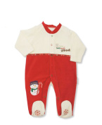 Baby Velour Christmas 'I Have Been Really Good' Cream & Red SNOWMAN All In One Sleep Suit - So Cute!!