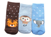 Baby Boys Girls Winter Thick Cotton Socks Pack of 3 Animal Theme Tiger Monkey Elephant