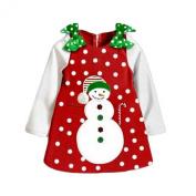 Arrowhunt Baby Girls' Snow Dots Green Bowknot Snowman Christmas Dress