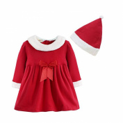 Arrowhunt Baby Girls' Christmas Outfit Santa Claus Costume Dress With Hat
