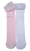 2 pairs of Plain White & Pink Baby Tights