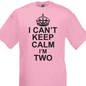 I Can't Keep Calm I'm two funny cotton Tshirt Girls 2nd Birthday 2-3 Years Light Pink