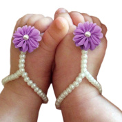 Koly 1Pair Baby Photography Pearl Barefoot Toddler Foot Flower Beach Sandals