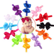 Koly 12PCs Baby Girls Bowknot Flower Hairband Elastic Photography Headbands
