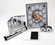 Hugs & More Baby Gift Set includes First Year Photo Frame/Birth Certificate Holder/Tooth and Curl Keepsakes/Baby Hand Print Frame