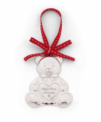 Mamas & Papas Christmas Tree Decor - Silver Plated Teddy Bear - Babys First Christmas Detailing