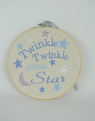 Emboidered Cotton Beige and Blue Lullaby Hanging Verse Plaque Twinkle Twinkle Little Star