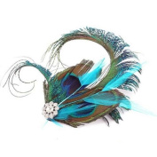 Peacock Feather Fascinator Hair Clip Slide Vintage Races 1920s Silver Blue Green *EXCLUSIVELY SOLD BY SUFIAS ACCESSORIES*