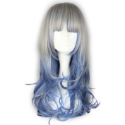 Etruke Long Lolita Wavy Grey Blue Curly Cosplay Wig