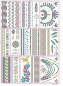 100 Flash Tattoos fluorescent, luminous Temporary Tattoos, GOLDEN + Colourful Bracelets Feathers 9 Leaves DISCO -2 - LK Trend & Style