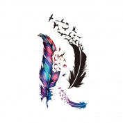 Born Pretty 1 Sheet Feather Birds Tattoo Decals Body Art Waterproof Paper Temporary Tattoo