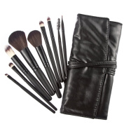 TimeSong Professional 9pcs Black Soft Powder Foundation Eyeshadow Eyeliner Lip Cosmetic Makeup Brushes Set with Travel Pouch