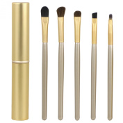 5 Gold Eye Make-Up Brush Set & Storage Case