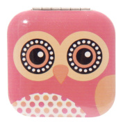 Owl Square Pink Compact Mirror