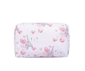 Pale Pink Paris Butterfly Print Waterproof Make Up Cosmetic Bag Pencil Case