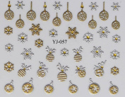 Nail Art 3D Stickers - Christmas Gold & Silver