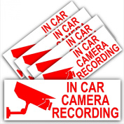5 x In Car Camera Recording-STANDARD Design-Red on White-Security Stickers-87mm x 30mm-Dashboard CCTV Sign-Van,Lorry,Truck,Taxi,Bus,Mini Cab,Minicab-Go Pro,Dashcam