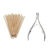 Grand Beauty 50 Pcs Wood Stick Nail Art Cuticle Pusher Remover And Stainless Steel Cuticle Nipper