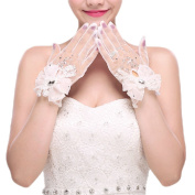 The Bride Marriage Dress Wedding Lace Bow Short Gloves Wedding Gloves White