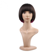 MelodySusie® Chic Mixed Colour Bob Hairstyle Fashionable Short Straight Hair Wig with Bangs