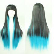 Womens Ladies Girls 70cm Lolita Straight Hair Black Mixed with Blue Gradient Colour Long Straight High Quality Hair Carve Cosplay Costume Anime Party Bangs Full Sexy Wigs