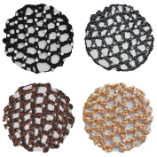Crochet Bun Hair Net Cover With 30 Rhinestones 4 Pcs Colour Pack