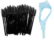 Kakaxi(TM) 50 pcs Disposable Eyelash Brushes Eyelash Applicator Mascara Brushes Wands with Mascara Guide Eyelash Comb