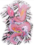 GGSELL Extra large dimension Length 12.6 X Wide 22cm colourful red dragon temporary tattoos for full back for men""