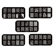 Gellen Well-selected 5 Sheets Multi-Style Stainless Steel Image Plate Template Stamping Manicure DIY Sticker Mixed Match #2