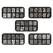Gellen Well-selected 5 Sheets Multi-Style Stainless Steel Image Plate Template Stamping Manicure DIY Sticker Mixed Match #5